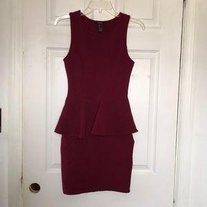 Deep red stretchy peplum dress